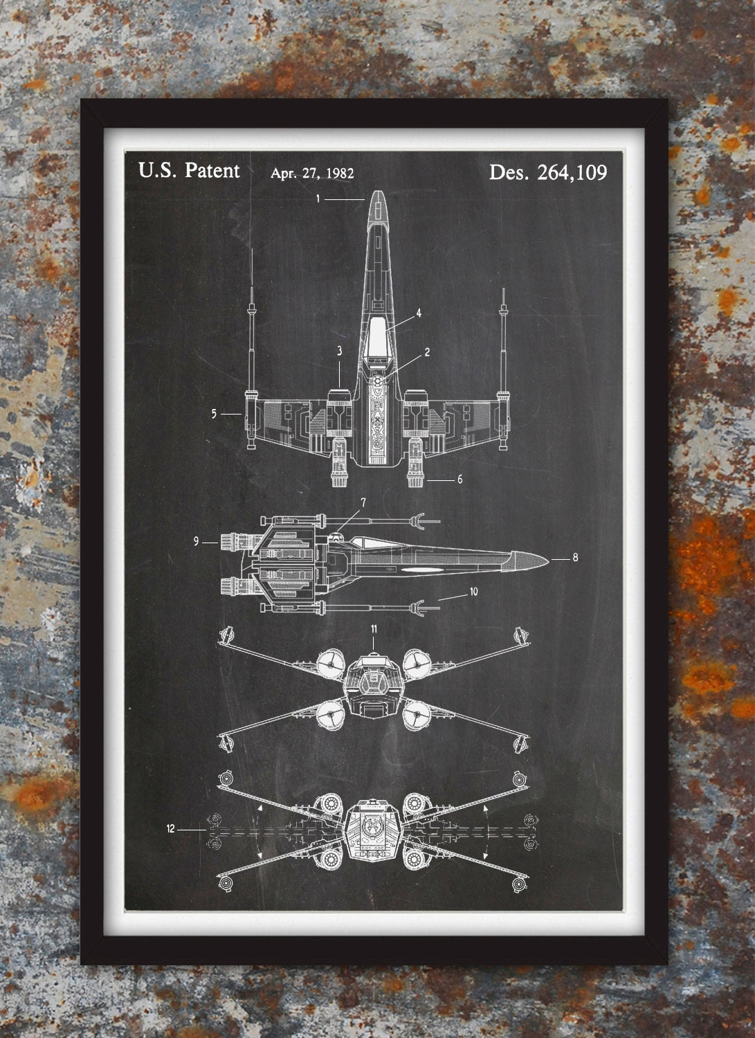 X wing fighter star wars wall patent print patent art star request a custom order and have something made just for you malvernweather Choice Image
