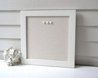 Square Bulletin Board Message Center - 14.5 x 14.5 inch Modern Magnetic Organizer - Framed Magnet Board with Neutral Fabric - Shabby Chic