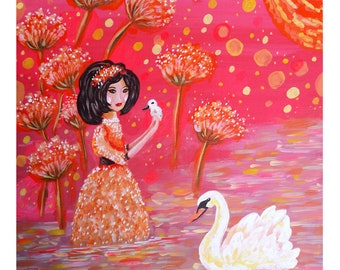 Swan Girl. Girl with white swan and cygnets. A3 Art Poster Print