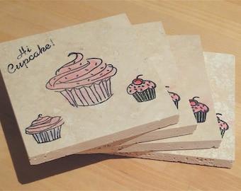 HI Cupcake Coasters- Set of 4