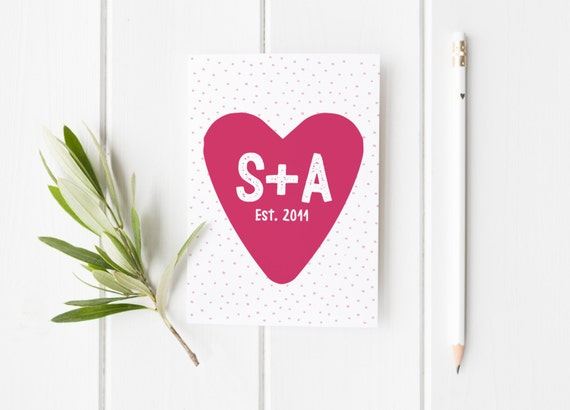Personalised card for anniversary cute anniversary card