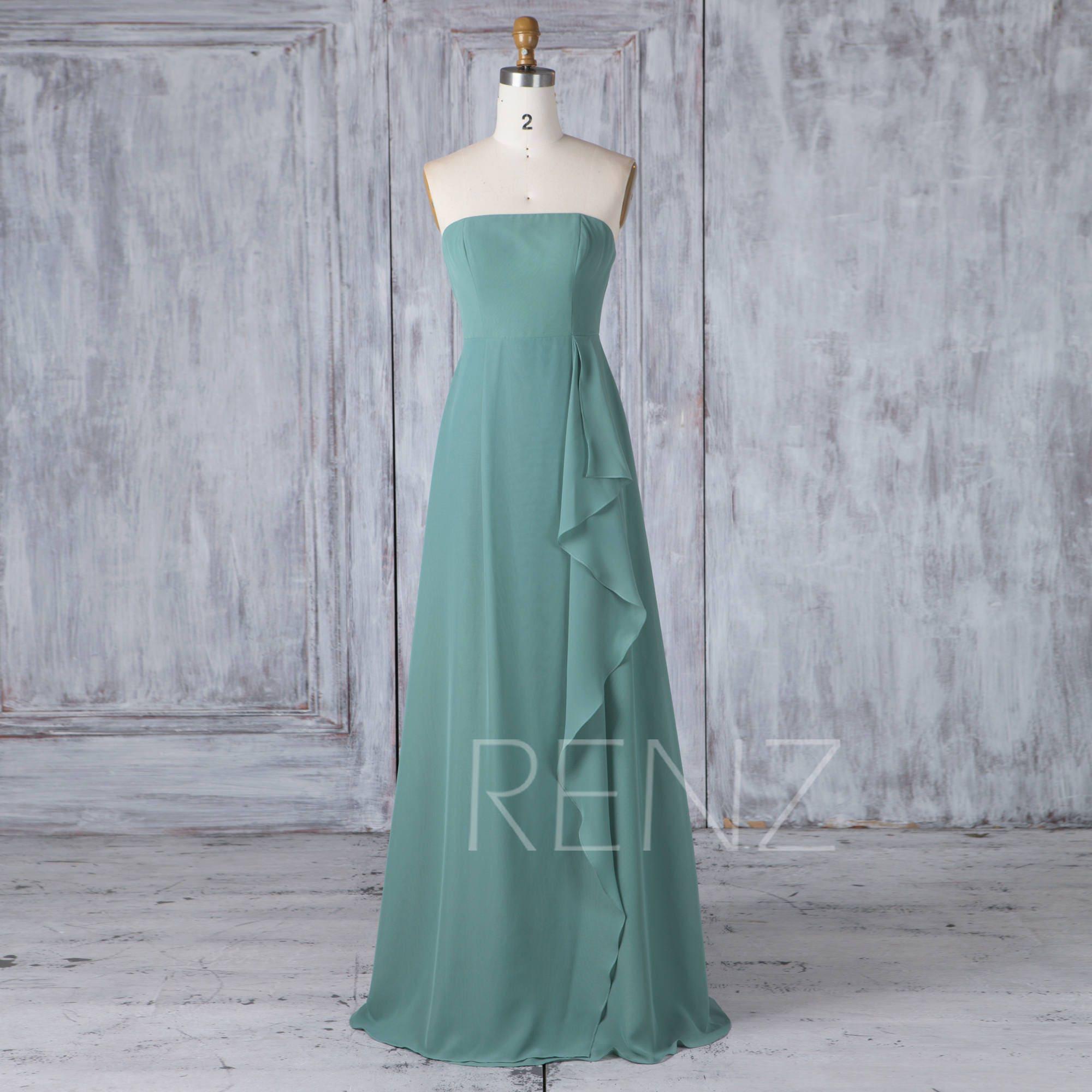 Bridesmaid dress dusty green chiffon wedding dressstraight zoom ombrellifo Gallery
