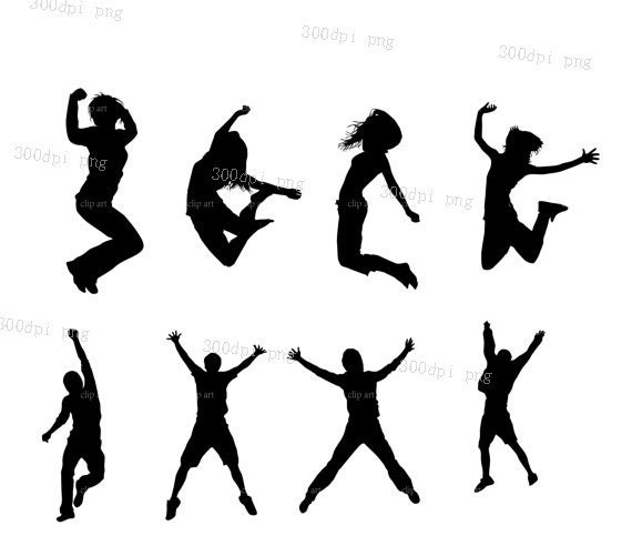 Jumping Wedding Party Silhouette