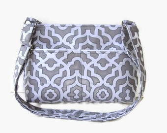 Gray Small Zippered Crossbody Purse - Gray and White Fabric Messenger Bag - Zippered Cross Body Bag - Adjustable Strap - Small Messenger Bag