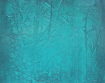 """Modern abstract painting - Abstract 207 - 20"""" square panel - Teal original painting contemporary art - FREE Shipping, Heavy texture wall art"""