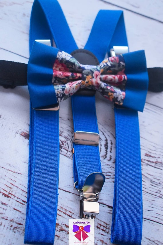 Kids Blue Floral Bow Tie with Suspenders / Braces  for Baby, Toddlers and Boys - Wedding / Cake Smash / Birthday / Christening