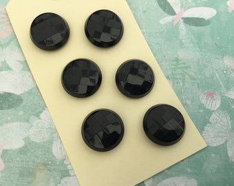 Six lovely vintage black faceted buttons