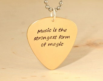 guitar pick necklace in bronze with inspirational quote - teachers gift - NL333