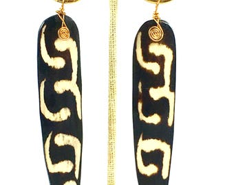 Large Batik bone drop earring