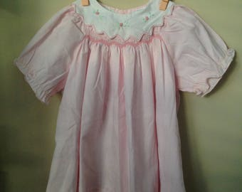 Vintage Smocked Pink Dress for Baby 3 Years