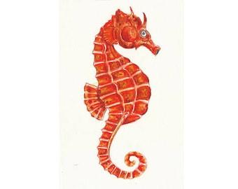 "Seahorse original painting // Postcard sized - A6, 4.1"" x 5.8"""