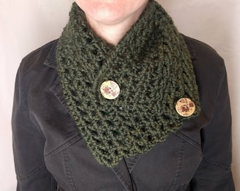 Crochet Envelope Button Cowl/Scarf: Color Options Available