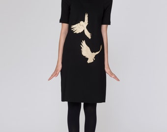 Embroidered Gold Birds Dress. Pinafore Dress Jumper. Black Structured Modern Jumper Dress. Metallic Gold Embroidery Dress. Gold Foil Birds