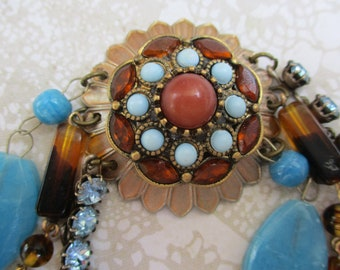 Boho bracelet turquoise with rhinestones blue brown hippy jewelry handmade