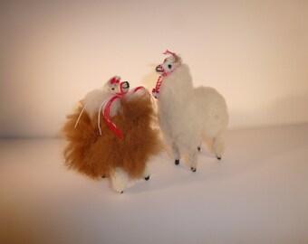 Set of Alpacas Alpaca Fur Handmade Alpaca Figures Soft Alpaca Vintage Alpacas Handcrafted