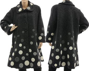 Dark grey boiled wool coat with polka dots appliqués, lagenlook fall winter grey wool coat for medium to plus size women M-L, US size 12-16