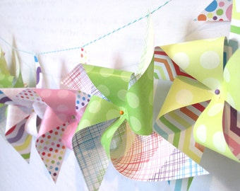 Banner Garland Rainbow Pinwheel Banner Birthday Party Decoration Birthday Banner Rainbow Banner Baby Shower Bunting Birthday Bunting