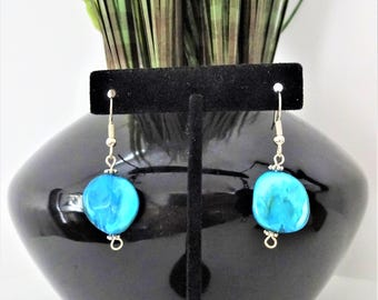 TURQUOISE NATURAL SHELL earrings - turquoise blue dangle earrings - surgical stainless steel ear wires - hypoallergenic non allergenic
