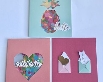 Greeting card, Group of greeting cards, Hello card, Celebrate card,