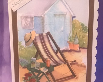 Attractive birthday card for any gardener with a 3d picture of a relaxing garden,a name,age or family titles can be added if requested