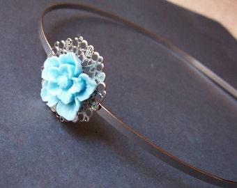 Botanical Headband Pastel Blue - Sakura Cherry Blossom Hair Accessories - Something Floral Flower For Women Girls Boho