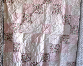 Pink Patchwork Lap Baby Quilt Wallhanging Throw 38 x 38 Shabby Romantic  Chic Cottage Floral Tablecloth