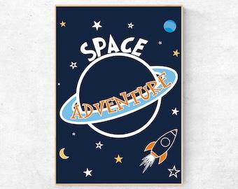 Printable Wall Art For Boys, Outer Space Print, Rocket Ship Print, Nursery Wall Art, Nursery Decor, Baby Boy Room Decor, Playroom Wall Print