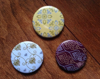 Wallpaper Origami Button / Magnet Set of 3