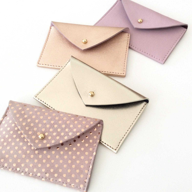 Leather Card Holder Leather Card Case Envelope Wallet Leather