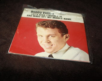 1962 Bobby Vinton Lets Kiss and Make up Trouble is my middle name 45 picture sleeve