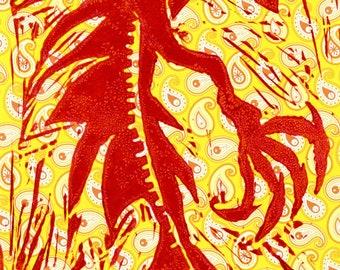 Mercury Monster Lino Print