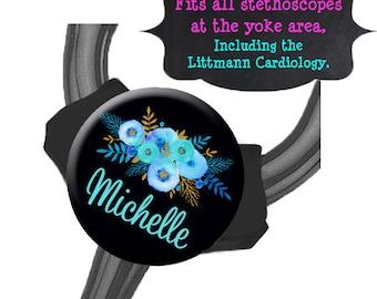 Yoke Stethoscope Tag - Blue Floral Black Bkgd - Fits all Steths at the Yoke including the Littmann Cardiology / Steth Tag / Nurse Badge