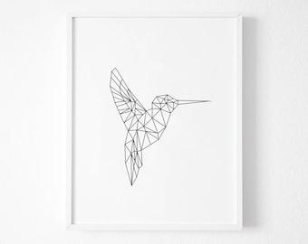 Hummingbird Print,  Hummingbird Wall Art, Printable Art, Geometric Hummingbird Wall Art, Spring Wall Art, White Geometric Animals