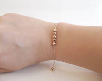 Hematite beads faceted filigree delicate bracelet bracelet with Rosegoldfarbene, adjustable