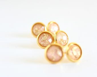 Blush and gold studs - blush stud earrings - bridesmaid earrings - bridesmaid jewelry - bridesmaid gift - peach earrings - tiny gold studs