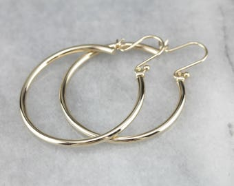 Vintage Yellow Gold Hoop Earrings, Hollow Hoops, Medium Hoop Earrings V6KPMLXC-P