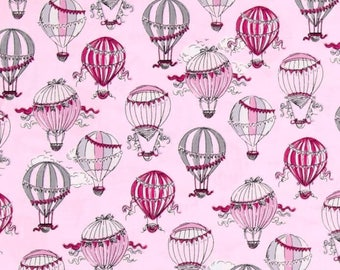 C'Est La Vie Hot Air Balloons Light Pink Color ~ Ink & Arrow Fabrics for Quilting Treasures, Quilting Cotton Fabric