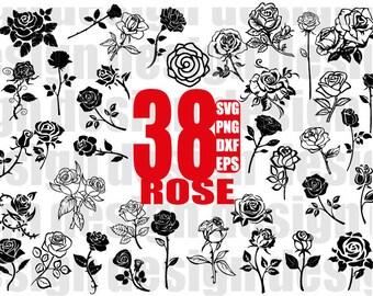 ROSE SVG, roses svg, valentine svg, valentine rose, flower svg, floral svg, rose stencil, rose silhouette, cut file, monogram, iron on