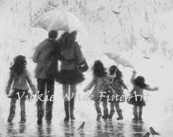 Four Daughters Art Print, four sisters, rain family, four girls, father mother, four sisters, black and white wall art, Vickie Wade Art
