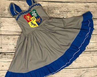 Disney Universal inspired ravenclaw Harry Potter Crest sweetheart ruffle strap dress sizes 2-14