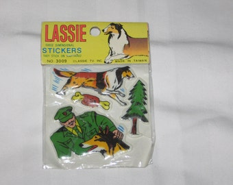 one pack of 4 vintage 1970s lassie three dimensional puffy stickers pack