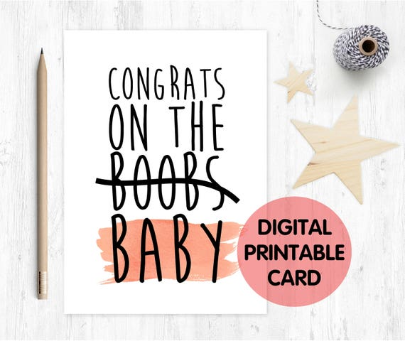 funny pregnancy card, funny new mum card, new baby card, congrats on the baby, boobs pregnancy card, expecting card, congrats on the boobs