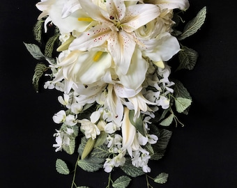 Dreamy Ivory/White Cascading Bride Bouquet with Tiger Lilies, Wisteria, Calla Lilies and Trailing Greenery
