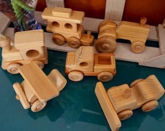 Set of Wood Vehicle Toys
