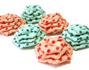 Mint Green and Peach Polka Dot Rose Drops - (6)