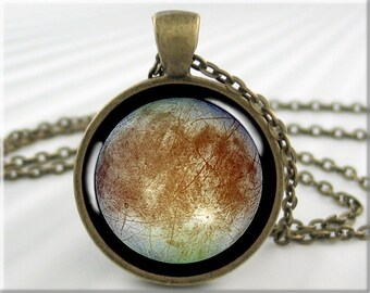 Europa Moon Pendant, Jupiter Moon Europa, Cassini Probe Picture, Resin Jewelry, Space Gift, Round Bronze, Gift For Space Geek 732RB