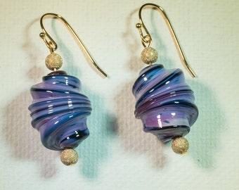 Purple whirled lampwork earrings-A190
