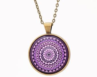 Mandala Necklace - Purple Necklace - Boho Bridesmaid Gift - Boho Necklace - Chakra Necklace - Spiritual Jewelry - Yoga Necklace