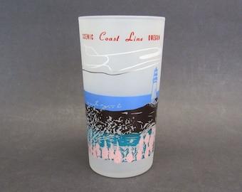 Vintage Frosted Oregon Coast Line Souvenir Tumbler (E10581)