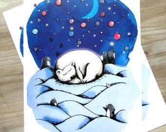 1 map postcard polar bear - illustration - holiday season - Christmas